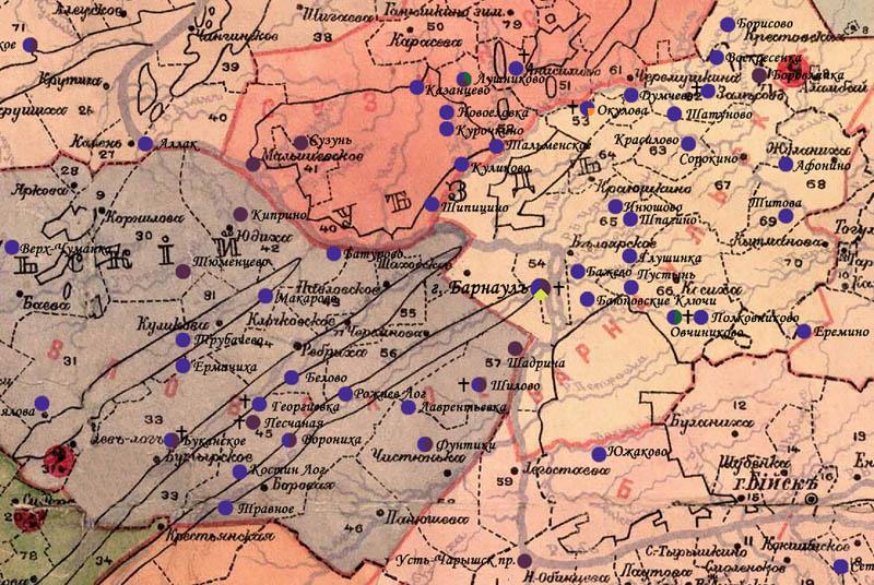 Карта Барнаульского уезда, 1910 г., старообрядческие приходы