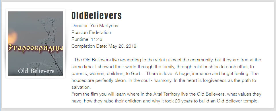Old Believers. Film of Yuri Martynov